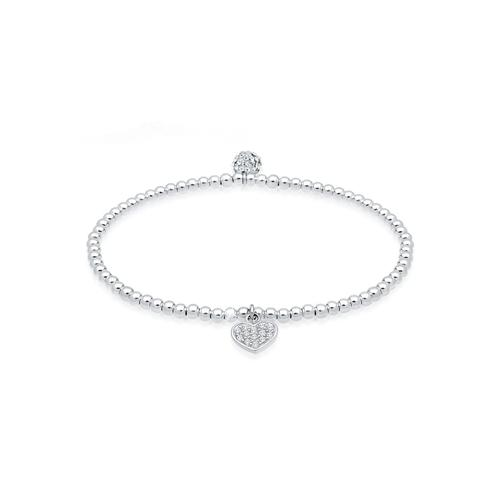 Armband Herz Symbol Kristalle 925 Silber Elli Weiß