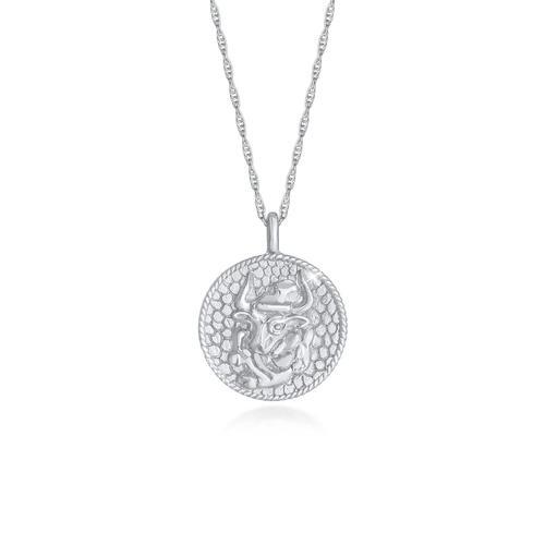 Halskette Sternzeichen Stier Astro Münze 925 Silber Elli Silber