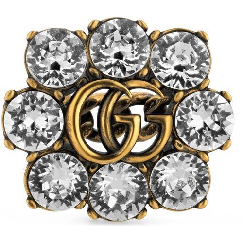 Gucci Ring mit Doppel G und Kristallen