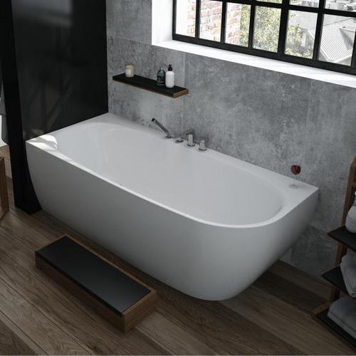 Hoesch iSENSI Eck-Badewanne mit Verkleidung L: 180 B: 80 H: 60 cm, Raumecke links ohne Wanneneinlauf 3834.010