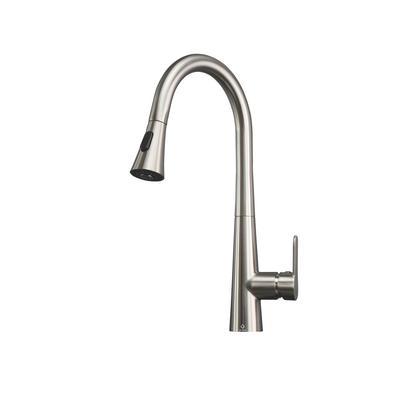 Furio Brass Kitchen Faucet w/ Pull Out Sprayer - Brushed Nickel - Lexora Home LKFS7011BN
