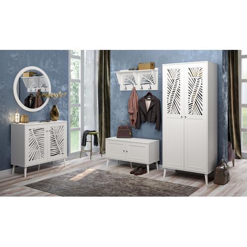 Home affaire Bank Tropical, Metallgriffe mit Kristall Swarovski, Breite 98,5 cm weiß Sitzbänke Stühle