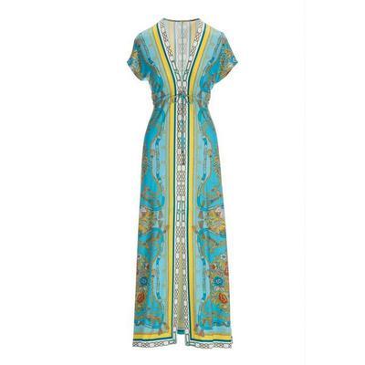 Boston Proper - Border Print Slit Maxi Dress - Blue Multi - X Small