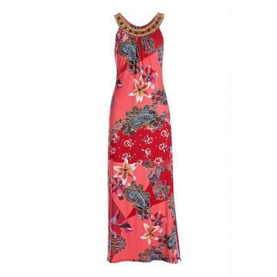 Boston Proper - Embellished Floral Print High-Neck Maxi Dress - Multi - X Small