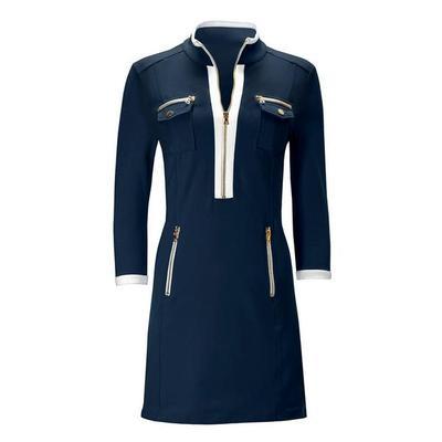 Boston Proper - Three-Quarter Sleeve Chic Zip Dress - Navy/white - X Small