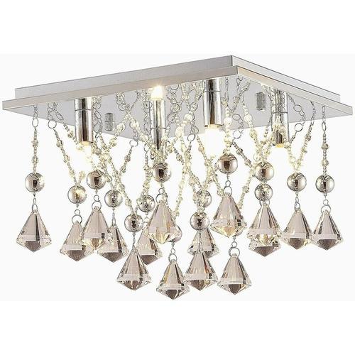 Kristall-LED-Deckenlampe Saori, verchromt