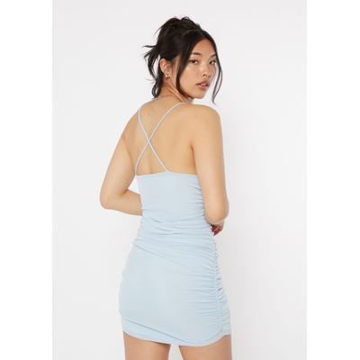 Rue21 Womens Light Blue Mesh Ruched Side X Back Dress - Size L