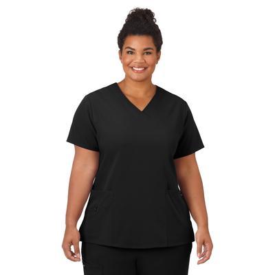 Plus Size Women's Jockey Scrubs Women's Favorite V-Neck Top by Jockey Encompass Scrubs in Black (Size XL(18-20))