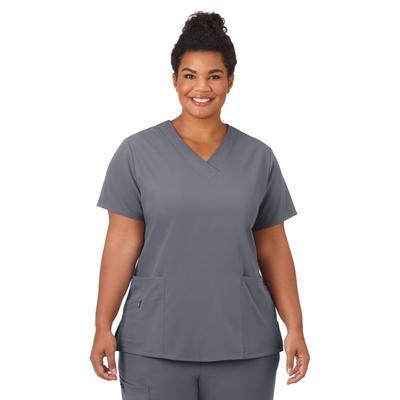 Plus Size Women's Jockey Scrubs Women's Favorite V-Neck Top by Jockey Encompass Scrubs in Pewter (Size L(14-16))