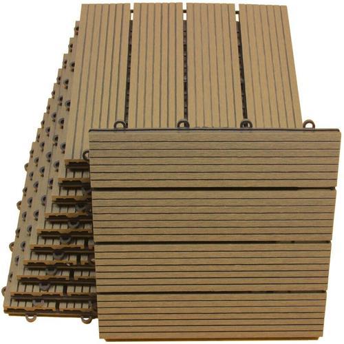 WPC Bodenfliesen 30 x 30cm braun standard 2 m²