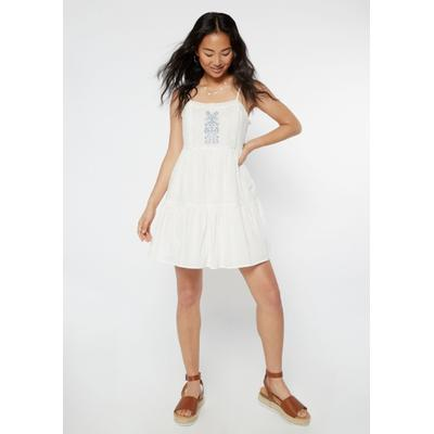 Rue21 Womens White Embroidered Babydoll Tank Dress - Size L