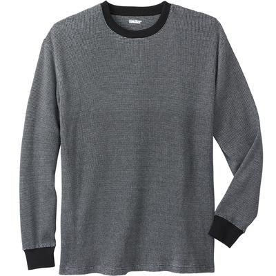 Men's Big & Tall WAFFLE-KNIT THERMAL CREWNECK TEE by KingSize in Black Marl (Size 4XL)