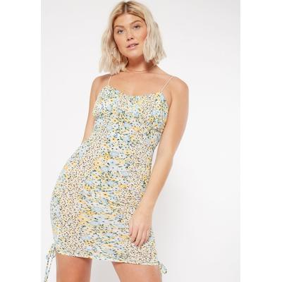 Rue21 Womens Blue Floral Print Ruched Corset Dress - Size S