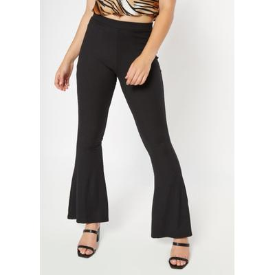 Rue21 Womens Black Super Soft Ribbed Knit Flare Pants - Size S