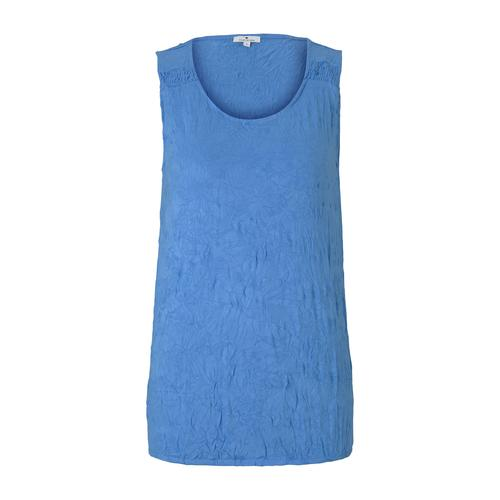 TOM TAILOR Damen Top in Knitteroptik, blau, Gr.S