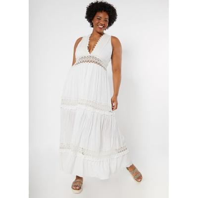 Rue21 Womens Plus Size White Crochet Inset Deep V Neck Maxi Dress - Size 2X