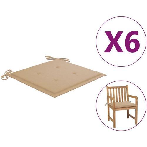 Gartenstuhl-Sitzkissen 6 Stk. Beige 50x50x4 cm Stoff