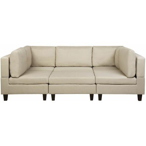 Beliani - Sofa Beige Polsterbezug U-Förmig Schlaffunktion Wohnlandschaft Modern Wohnzimmer