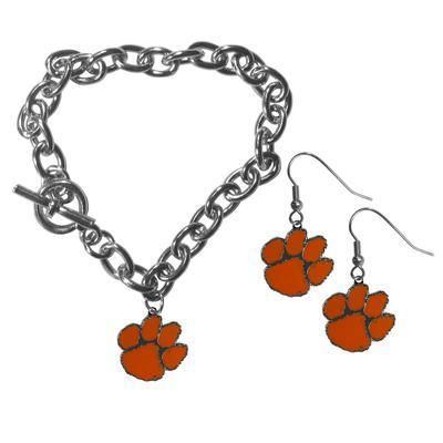 Clemson Tigers Chain Bracelet and Dangle Earring Set - Siskiyou Buckle CDEN69CBR