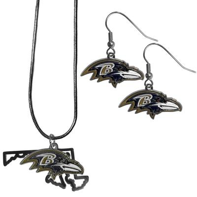Baltimore Ravens Dangle Earrings and State Necklace Set - Siskiyou Buckle FDEN180SN