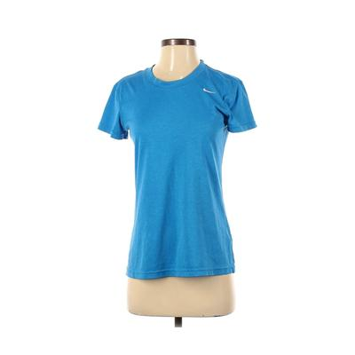 Nike Short Sleeve T-Shirt: Blue Solid Tops - Size Small Petite