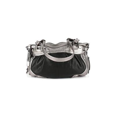 B Makowsky Leather Tote Bag: Silver Solid Bags