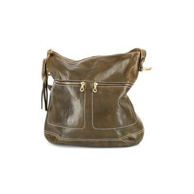 Christopher Kon - Christopher Kon Leather Shoulder Bag: Green Solid Bags