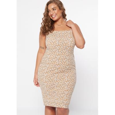 Rue21 Womens Plus Size Brown Floral Print Bodycon Dress - Size 2X