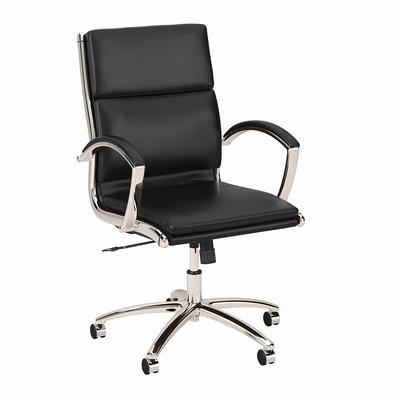 Salinas Mid Back Leather Executive Office Chair in Black - Bush Furniture SALCH1702BLL-Z