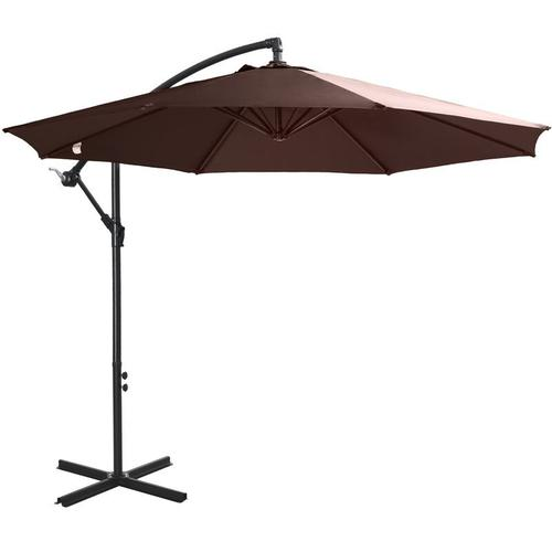 ® Sonnenschirm Ampelschirm abnehmbar Kurbelschirm mit Handkurbel Kaffee - Outsunny