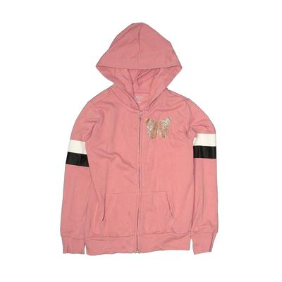 The Children's Place - The Children's Place Zip Up Hoodie: Pink Solid Tops - Size 7