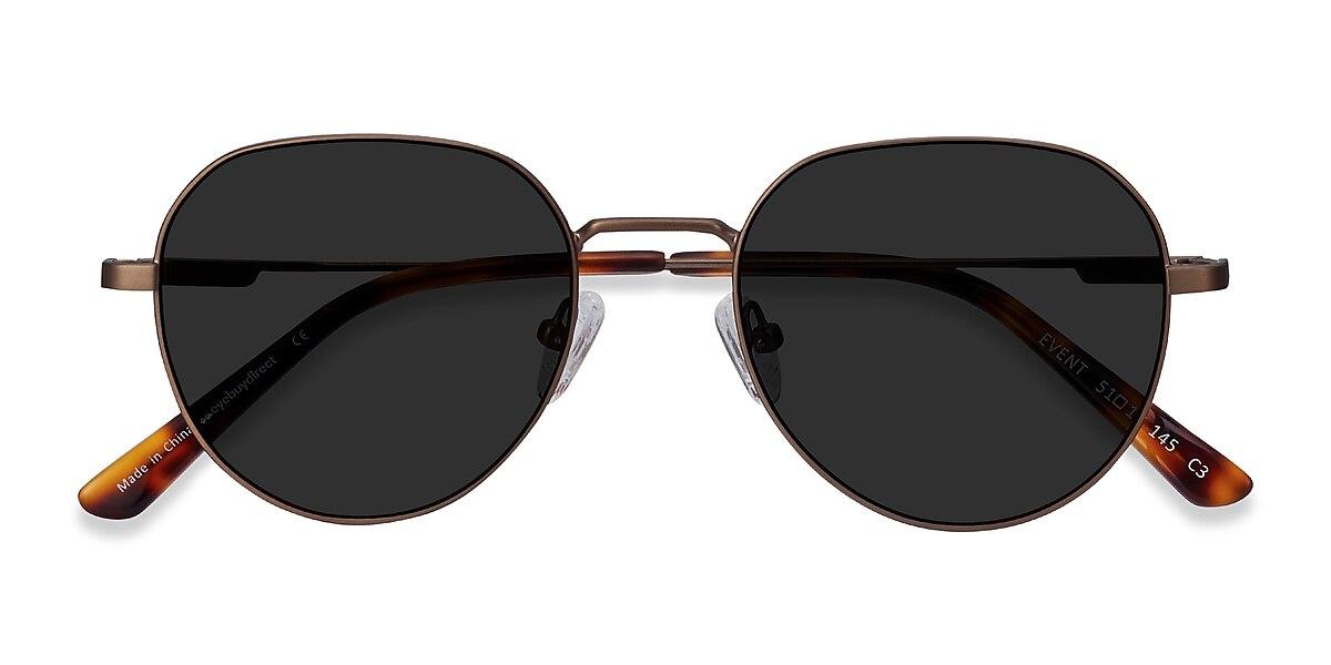 Unisex Round Bronze Metal Prescription sunglasses - EyeBuydirect's Event