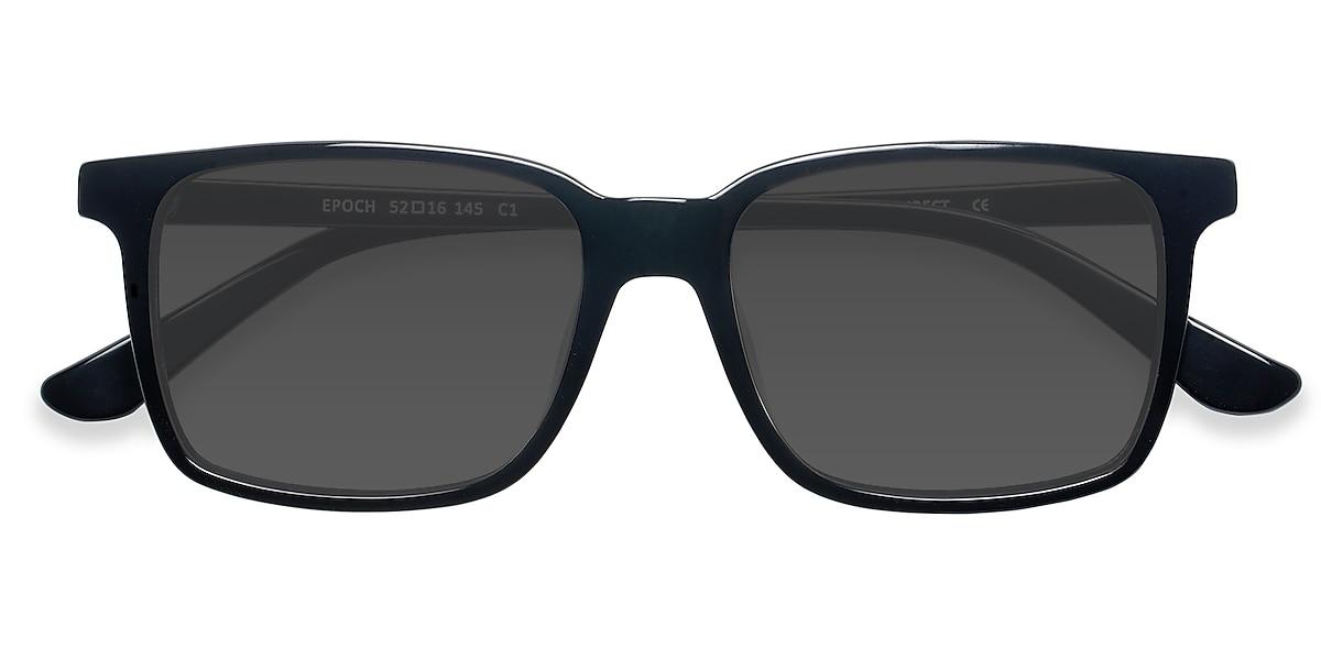 Male's Rectangle Black Acetate Prescription sunglasses - EyeBuydirect's Epoch