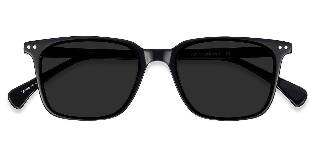 Unisex Rectangle Black Acetate Prescription sunglasses - EyeBuydirect's Luck