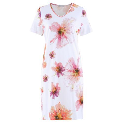 Avena Damen Nachthemd Sommerblüte Weiss
