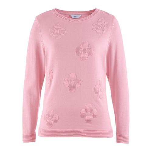 Avena Damen Pullover Blüten-Jacquard Rose
