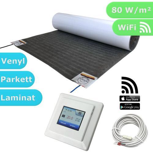 HoWaTech Lux WIFI Elektrische Fußbodenheizung | Set mit Heizmatte und WLAN Regler: 2.5m / 1.25m²