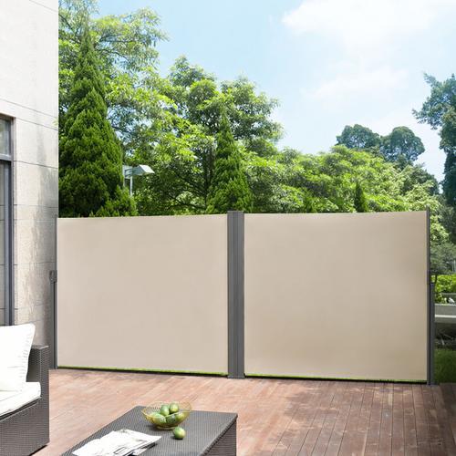 2er-Set Seitenmarkise 180x300 cm Sandfarben