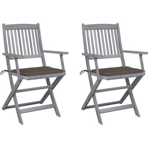 Klappbare Gartenstühle 2 Stk. mit Sitzkissen Massivholz Akazie
