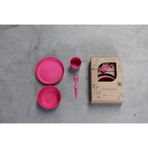 Geschirr-Set 4-teilig nachhaltig pink
