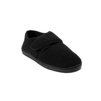Extra Wide Width Adjustable Fleece Slippers by KingSize in Black (Size 9 EW)