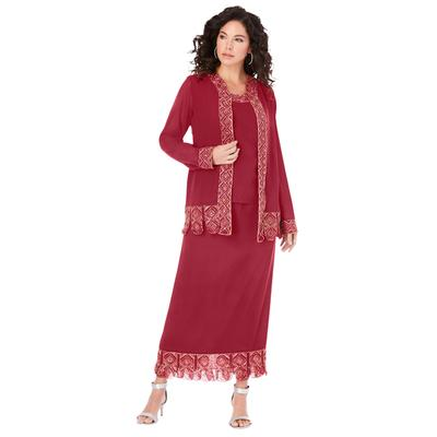 Plus Size Women's 3-Piece Skirt Set by Roaman's in Classic Red (Size 20 W)
