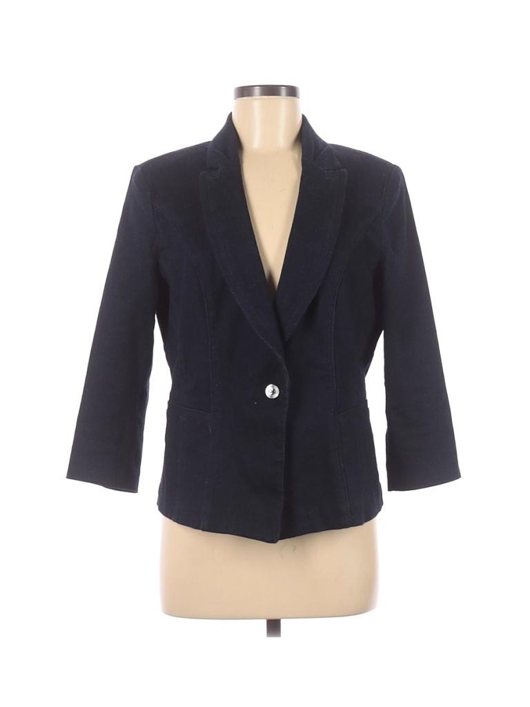 White House Black Market Denim Jacket: Blue Solid Jackets & Outerwear - Size 12