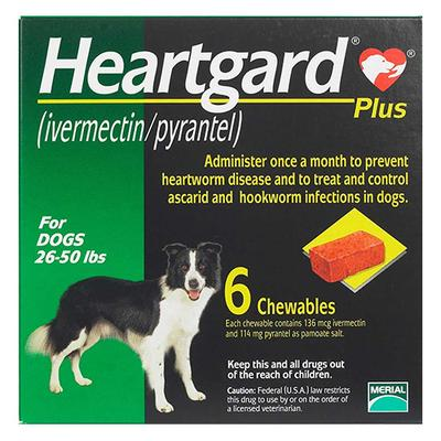 Heartgard Plus Chewables For Medium Dogs 26-50lbs (Green) 12 Doses -