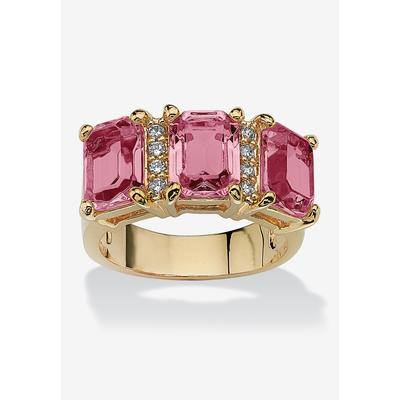 Plus Size Women's Yellow Gold-Plated Emerald Cut 3 -Stone Simulated Birthstone & CZ Ring by PalmBeach Jewelry in October (Size 7)