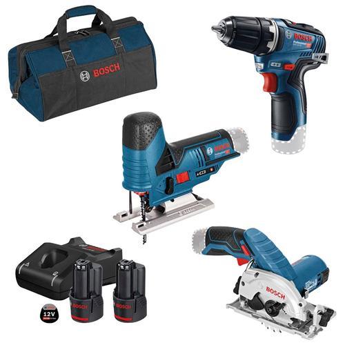 Bosch Professional Akku-Schrauber, mit 3 Werkzeugen, Werkzeugtasche, Akkus und Ladegerät blau Akkuschrauber Werkzeug Maschinen Akku-Schrauber
