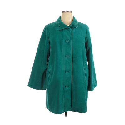 Woman Within Coat: Blue Solid Jackets & Outerwear - Size 14