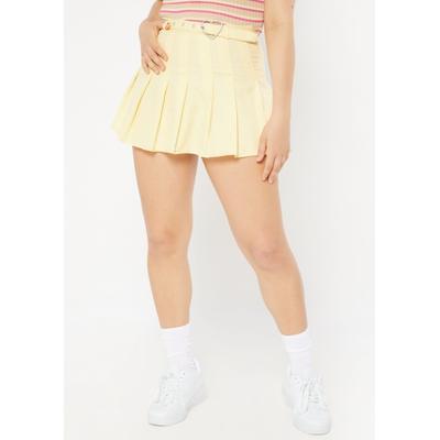 Rue21 Womens Yellow Heart Buckle Belt Pleated Skirt - Size Xl