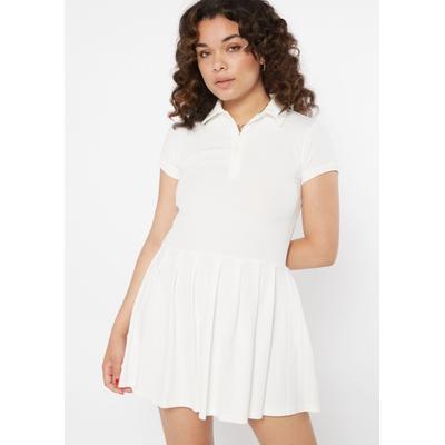 Rue21 Womens White Pleated Polo Mini Dress - Size L