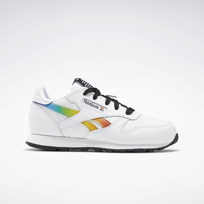 Reebok Unisex Classic Leather Pride Shoes - Preschool in Ftwr White/Ftwr White/Core Black Size 12.5 - Running Shoes